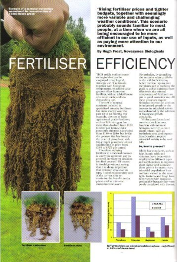 Fertiliser Efficiency - Pitchcare April May 09 - Symbio