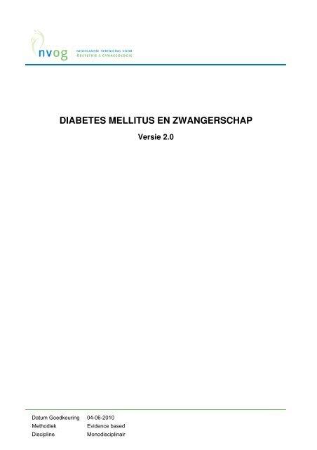 richtlijn 'Diabetes mellitus en zwangerschap' - NVOG