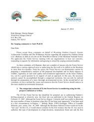 Scoping comments re - Greater Yellowstone Coalition