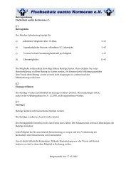 Satzung - Fischschutz contra Kormoran