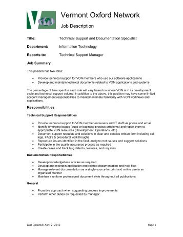Job Description âu20acu201c System Administrator   Vermont Oxford Network
