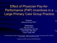 performance (p4p) incentives in a