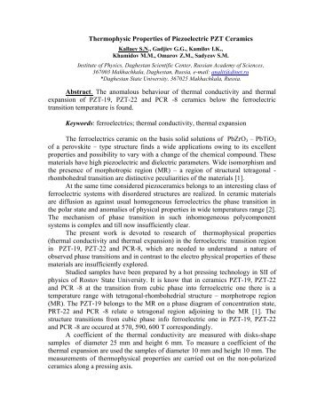 Thermophysical properties of piezoelectric PZT ... - thermophysics.ru