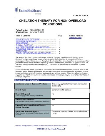 Chelation Therapy - Oxford Health Plans