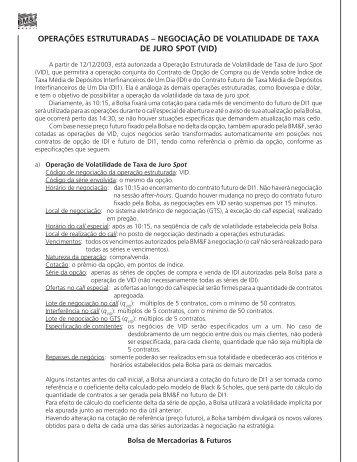 Negociação de volatilidade de Taxa de Juro Spot (VID)
