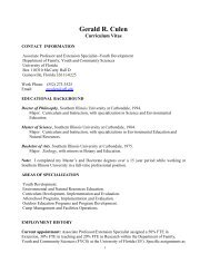 Curriculum Vitae - University of Florida Family Youth and ...