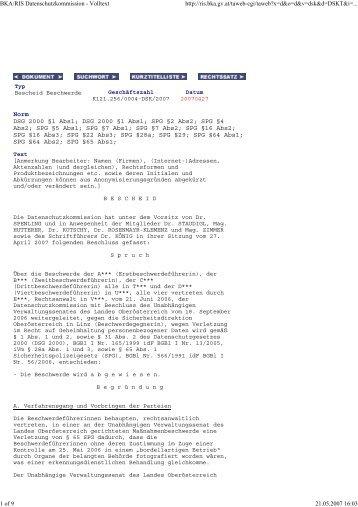 BKA/RIS Datenschutzkommission - Volltext http://ris.bka.gv.at/taweb ...