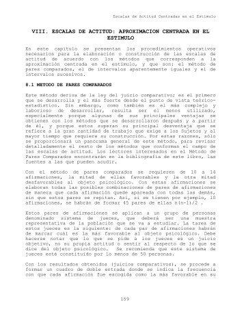 VIII.ESCALAS DE ACTITUD: APROXIMACION CENTRADA EN EL