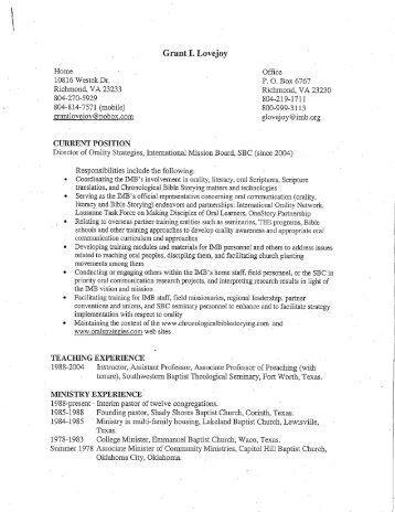 to view this professor's Curriculum Vitae - Southeastern Baptist ...