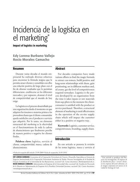 Incidencia de la logística en el marketing* - Universidad de San ...