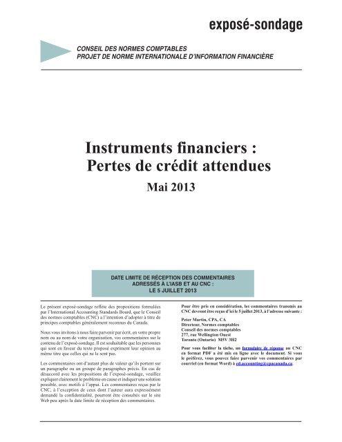 Instruments financiers : Pertes de crédit attendues - Normes d ...