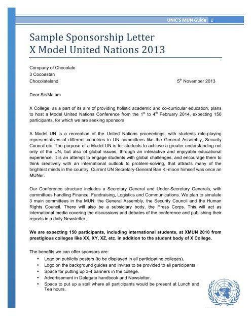 Sample Sponsorship Letter X Model United Nations 2013 Unics