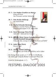 Festspiel-Dialoge 2005: Höhenflüge – Untergänge. Die andere Zeit ...