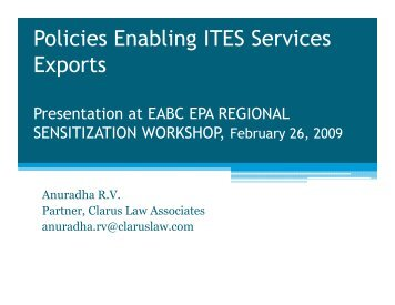 Policies underpinning IT-enabled services exports - ILEAP