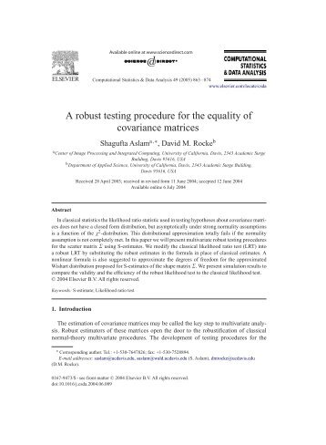 A robust testing procedure for the equality of ... - David Rocke