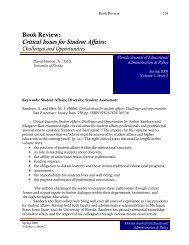 Book Review: Critical Issues for Student Affairs: - College of Education