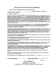 Sample Release and Hold Harmless Agreement - The Nevada ...