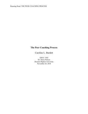 Peer Coaching Action Research Paper - Houston Baptist University