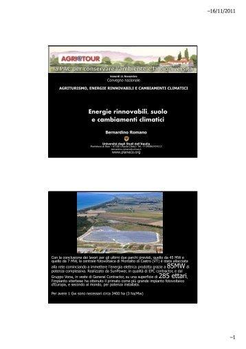 Energie rinnovabili, suolo e cambiamenti climatici - Planeco
