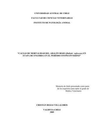 causas de mortalidad del abaló - CyberTesis UACh - Universidad ...