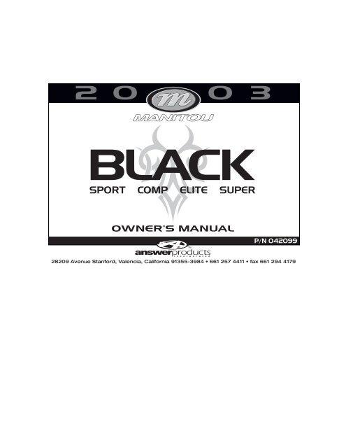 Manitou 2003 black service manual spoke n' word cycles.