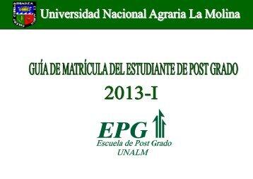 Guía de Matrícula del Estudiante de Post Grado 2013-I, EPG ...