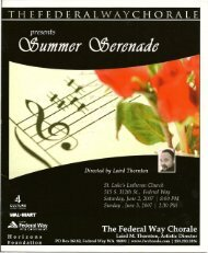 Special Thanks! - Federal Way Chorale