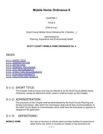 Mobile Home Ordinance No - Scott County