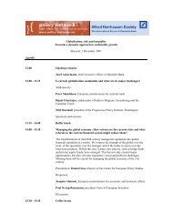 Agenda - Brussels conference - Policy Network