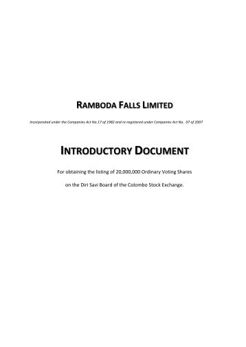 Introductory Document - Colombo Stock Exchange