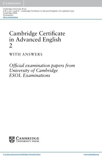 Download: Cambridge Certificate In Advanced English 4 For