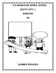 kr mangalam holiday homework