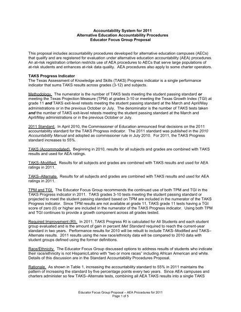 Educator Focus Group On Accountability Proposal For 2011 Aea