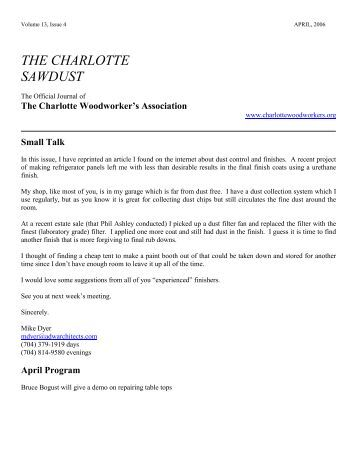 April 2006 Newsletter - Charlotte Woodworkers