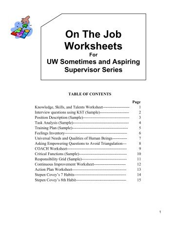 On The Job Worksheets - Office of Human Resource Development