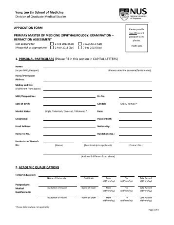 Application Form - Yong Loo Lin School of Medicine