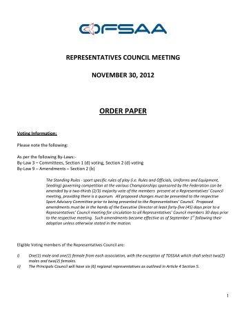 representatives council meeting november 30, 2012 order paper