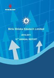 Annual Report - birla shloka edutech ltd