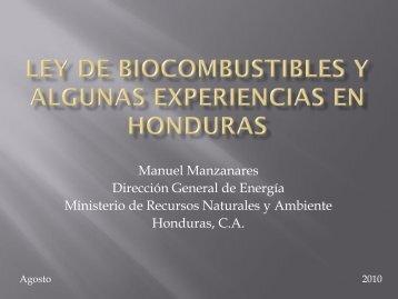 BIOCOMBUSTIBLES EN HONDURAS