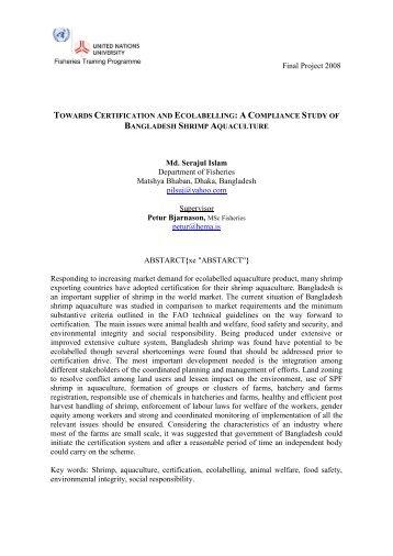 a compliance study of Bangladesh shrimp aquaculture - The United ...