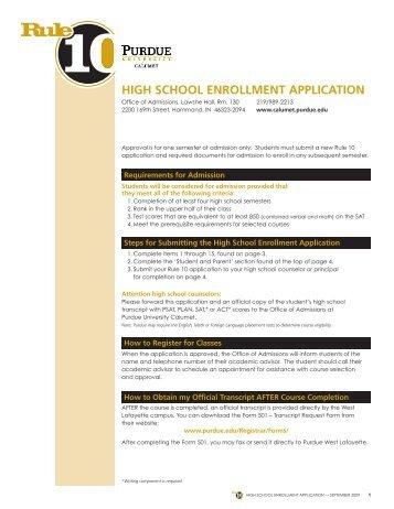 high school enrollment application - Purdue University Calumet