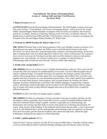 Lecture 4 - Howard Hughes Medical Institute