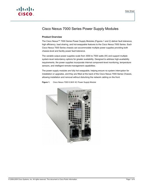 Cisco Nexus 7000 Series Power Supply Modules - Sourcetech