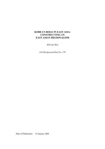 korea's role in east asia - East Asian Institute - National University of ...