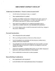 EMPLOYMENT CONTRACT CHECKLIST - Hicks Morley