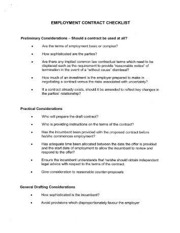 EMPLOYMENT CONTRACT CHECKLIST - Hicks Morley