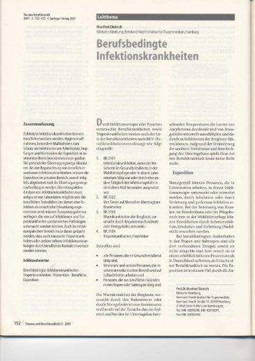 Beruf sbedingte Infektionskrankheite n - Imb-fachverband.de