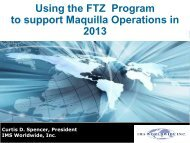 Using the FTZ Program to support Maquilla ... - City of El Paso