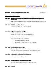 """Programm: """"Tag der Studienfinanzierung"""" - Studentenwerk Berlin"""