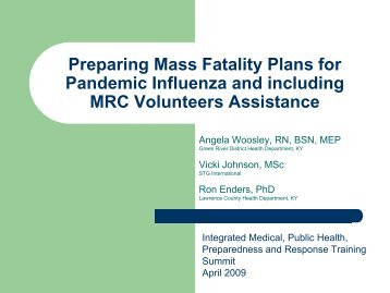Mass Fatality Management Planning for Pandemic Influenza